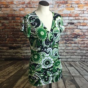 Johnny Was Stretch Top floral green black Sz M